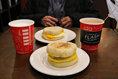 Egg breakfast sandwiches (Can Pac Swire) Tags: alberta canada canadian rocky mountains rockies banff town centre center downtown second cup coffee shop cafe café 2017aimg0204 egg sandwich 317 banffavenue wolfstreet