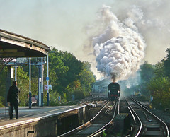 'Phone Ready (Deepgreen2009) Tags: railway steam exhaust plume uksteam london special cathedralsexpress battleofbritain wandsworthtown bulleid tangmere 34067 southern