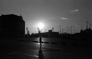 Siluettes against a setting sun