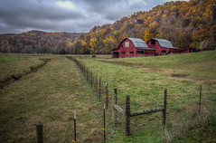 The Barns in Autumn (donnieking1811) Tags: tennessee cookeville autumn fall barns outdoors trees colorful sky clouds fence hdr canon 60d lightroom photomatixpro
