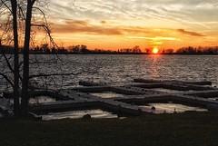 Sunset at Crystal Lake (BMZYGrace) Tags: crystallake shore sunset sky floatingdocks water lake colorful