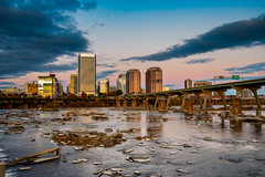 Dusk at the City (Somsubhra Chatterjee) Tags: dusk sunset rva richmond va virginia city cityscape jamesriver clouds sky goldenhour