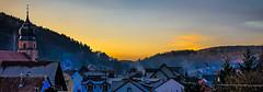 17-11-23 spess sonauf raur tal dorf dsc08928-1 (ulrich kracke (many thanks for more than 1 Mill vi) Tags: indiansummer kirchturm rauch raureif sonnenaufgang spessart 7dwf panorama landscape