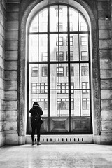 Windows to New York City (katiegodowski_photography) Tags: blackwhite monochrome windows black bnw monocrome standing photography photos flickrcentral flickr beautiful amateurs amateur canon digital building people window