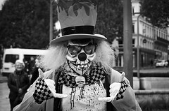 """Just remember,"" he told her. ""If you run from me, I will pursue."" (Gilles,Gilles,Lemonpeel) Tags: zombiefantasticwalk zombie rouen seinemaritime portrait bw blackwhite monochrome noirblanc nikon rawtherapee gimp"