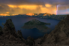 Electric Touch (Mark Metternich) Tags: ngc rainbow lightening landscape crater lake craterlake