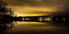 November Dusk (Jens Haggren) Tags: november dusk sky clouds aftersunset landscape lake water reflections trees view nacka sweden jenshaggren