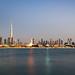 Dubai Skyline with the iconic Burj Khalifa view from the sea, UAE