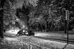 The Other Side of Winter Wonderland :)) (Natalia Medd) Tags: winter snow street road car vehicle trouble iphone bw monochrome