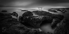The Shadow Gate (YOSHIHIKO WADA) Tags: blackandwhite longexposure fineart seascape tokyo ibaraki panorama japan rock shrine gate travel