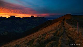 Sunset at Pointe de l'Erse (Switzerland)