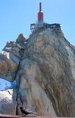 "Summit Aiguille du Midi with antenna and ""Step into the void"". (elsa11) Tags: aiguilledumidi stepintothevoid lepasdanslevide montblanc montblancmassif alps alpen mountains hautesavoie auvergnerhonealps france frankrijk chamonix summit aiguille du midiantenna midi"