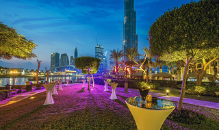 Before the cocktail reception at The Palace Gardens (with a view of Burj Khalifa and Dubai Fountain
