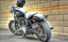 Harley Davidson Motorcycle (swong95765) Tags: harley hog stand helmet parked grey awesome sleek powerful modern