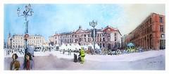 Toulouse - Occitanie - France - place du Capitole (guymoll) Tags: toulouse france occitanie panoramique panoramic capitole croquis sketch