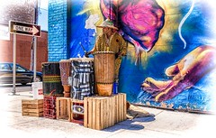 Street Rhythms (Wes Iversen) Tags: detroit efebes michiganeasternmarket nikkor18300mm autos brick cars crates drummers drums men murals muscians people performers signs streetperformer vehicles