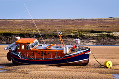 RNLB 37-34 Horace Clarkson (rustyruth1959) Tags: nikon nikond5600 tamron16300mm uk england eastanglia norfolk wellsnextthesea lifeboat rnli rnlbhoraceclarkson rnlb3734 rnlb boat vessel mooring mooringbuoy yellowbuoy sand coast lowtide moelfre moelfrelifeboat restoredlifeboat grass sky outdoor postagestamp hull deck wheelhouse railings aerial starboardside selfrightinglifeboat rotherclasslifeboat rotherclass lifering bumpers fenders rope mooringrope beached water