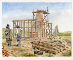 Building the house at Broom Close, Cophill, Bedfordshire
