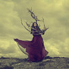 Northern Gothic Part 3 (Maren Klemp) Tags: fineartphotography fineartphotographer color conceptual selfportraits selfportrait portrait woman dress red outdoors nature branches surreal dreamy ethereal clouds darkart darkartphotography vintage
