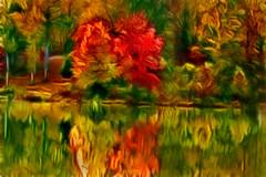 Autumn at the Lake-Artistic 6-0 F LR 10-27-17 J047 (sunspotimages) Tags: artwork artistic nature landscape digitalmanipulation trees tree fall falltree falltrees fallforest fallleaves falllandscape