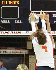 Hand-to-hand combat (RPahre) Tags: universityofillinois universityofwisconsin illinois huffhall huff champaign volleyball block net bigten b1g tyannaomazic copyrighted robertpahrephotography donotusewithoutpermission