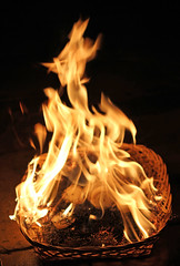 Ooops! (RiverCrouchWalker) Tags: ooooops fire flames candles basket
