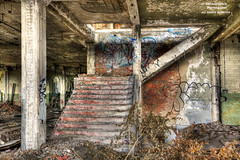 And She's Buying A Stairway To... (DetroitDerek Photography ( ALL RIGHTS RESERVED )) Tags: 313 detroit urban abandonment abandoned blight bleak office manufacture industrial warehouse stairway ledzeppelin song title hdr 3exp canon 5d mkii digital december 2017 ruin stripped bare graffiti motown michigan midwest usa america economy dilapidated detroitderek motorcity allrightsreserved urbex interior inside urbanexploration