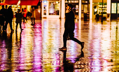 Walking the light fantastic (phil anker) Tags: street people night reflection salisbury