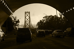 Bay Bridge (Jay Pasion) Tags: jaypasion nikon d7500 tamron sanfrancisco baybridge bridge bayarea blackandwhite bnw bw monochrome cars road