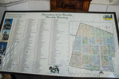 La Recoleta cemetary map