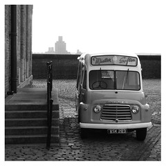 1962 Commer Karrier ice cream van (Towner Images) Tags: van commer karrier 1962 towner liverpool albertdock icecream bw mono monochrome monochromatic monotone blackandwhite birkenhead steps cobblestones setts xsk283 restoration restored townerimages