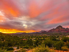 """Sedona Sunset"" (Cathy Lorraine) Tags: mountains sky trees landscape sunset glorious fiery sedona arizona redrock canyons desert nature outdoors autumn bright beautiful outside red light coth5"