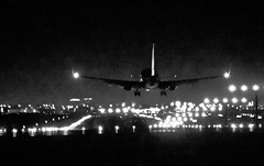 ISO 10000 (johnsinclair8888) Tags: plane jet landing dark iso johndavis nikon d750 300mm blackandwhite bw monochrone lasvegas airport airplane affinityphoto iso10000 hi