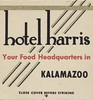 Hotel Harris - Kalamazoo, Michigan (The Cardboard America Archives) Tags: michigan hotel vintage match matchbook duncanhines