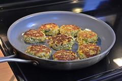 Latkes (It's 70'F Outside...NICE!!!) Tags: latkes chanukahmeal pan saute patties pancakes zucchini rice veggies tasty traditional meal onthestove cooking oliveoil