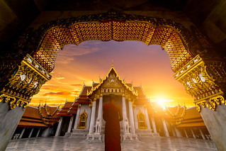 Sunrise sence of The Marble Temple, Wat Benchamabophit Dusitvanaram is a Buddhist temple in the Dusit district of Bangkok, Thailand.