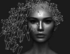 Pin Swept Hair (tralala.loordes) Tags: hair avatar secondlife virtualreality safetypins alternative fashion steel pins hairdo