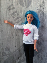 Hand-knitted white sweater pullover with pink rose for Barbie girls. Handmade Barbie doll clothes. (uliakiev) Tags: barbie barbiedoll barbiedollclothes barbieclothes barbiesweater barbiecollector barbiecollection barbiefan barbiefashion barbieclothing barbiedolls barbieshop barbiestyle barbiestream barbiecrochet barbieknit dollclothes dollsweater dollknitting