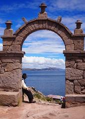 Taquile Island (Mariasme) Tags: arch man beggar path sitting hats peru taquileisland laketiticaca challengeyouwinner cyunanimous onthewater