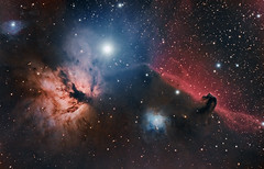 Flame & Horsehead Nebula (Waskogm) Tags: horsehead nebula astrophotography telescope space astronomy flame orion skywatcher ngc ngc2024 barnard33 ldn1630 ic434 waskogm aristarh nostromo cosmos svemir sky night stars nebulosity astronomija nature universe star alnitak maglina canon 450d pixinsight emission observatory amateur blue red orange contrast maksutov newtonian mn mn190 maksutovnewtonian mak newt maknewt azeq6 astrofotografija serbia srbija gornji milanovac opservatorija