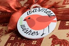 Christmas Wrapping (Karen_Chappell) Tags: xmas christmas red tag present gift holiday stilllife cardinal bird bow ribbon box decor decoration noel merrychristmas