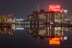 Domino Sugars (pyrospawn) Tags: night citiscape winter sonya7riii reflection architecture sonyfe70200mmf4goss baltimore maryland dominosugars cold