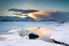 Lofoten (johan wieland) Tags: 2016 lofoten nordicvision smitinbeeld noorwegen norway snow frozen sunset lake cloud
