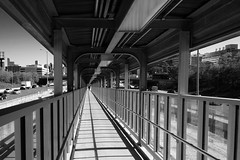 making the grade (KevinIrvineChi) Tags: monochrome monochromemonday blackwhite blackandwhite blanc noir et bw bnw ramp vanishing point chicago cta blue line illinois medical district monday ceiling roof lights eisenhower expressway curbedchicago sony dscrx100 boingboing