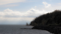 bay view (A. Wrench) Tags: bay jetty bluff water shore shoreline beach waves landscape trees woods sky clouds wisconsin greatlakes autumn fall lake trail path walkway reflections