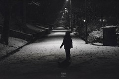 Winter Walk (aevo69) Tags: snow black white park people fall trees night andy evans andyevanscreations