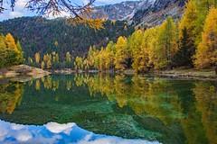 Palpuognasee (.hd.) Tags: palpuognasee grisons switzerland autumn lake water reflections sky blue clouds landscape