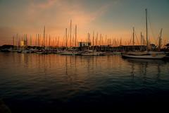 Harbour sunset..... (Dafydd Penguin) Tags: harbour sunset light evening water sea port vell barcelona harbor dock harbourside waterside boat yacht vessel ship spain catalunya catalonia nikon df nikkor 20mm af f28d