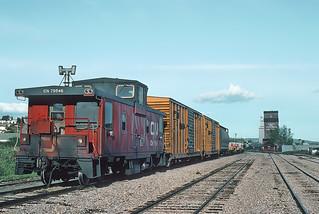CN caboose 79546 at Dawson Creek, BC on May 26, 1992