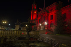 Town hall lit Red for worldwide pressure injury prevention day. (Mark240590) Tags: fun dailypic good awareness building europe uk unitedkingdom england fountain statue light victorianarchitecture victorian clock photography photo sigma1020mm nikon illuminated southshields townhall red